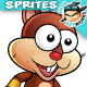 Squirrel Warrior Game Character Sprites 224 - GraphicRiver Item for Sale