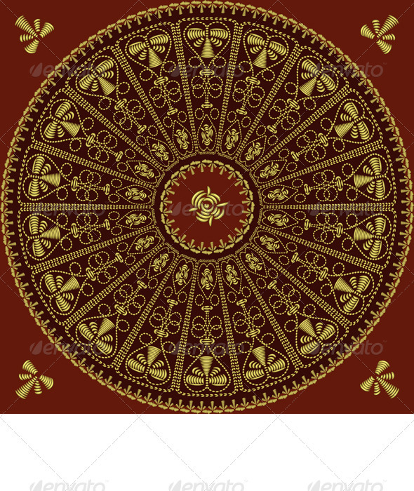Vector Circle Lace Gold Pattern - Patterns Decorative