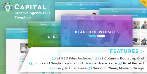 Capital Creative Agency PSD Template - Creative PSD Templates