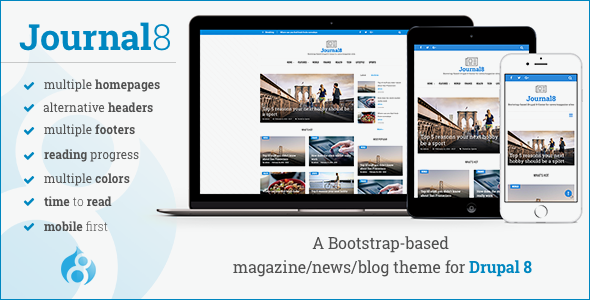 Image of Journal8 - Mobile-First Drupal 8 Theme