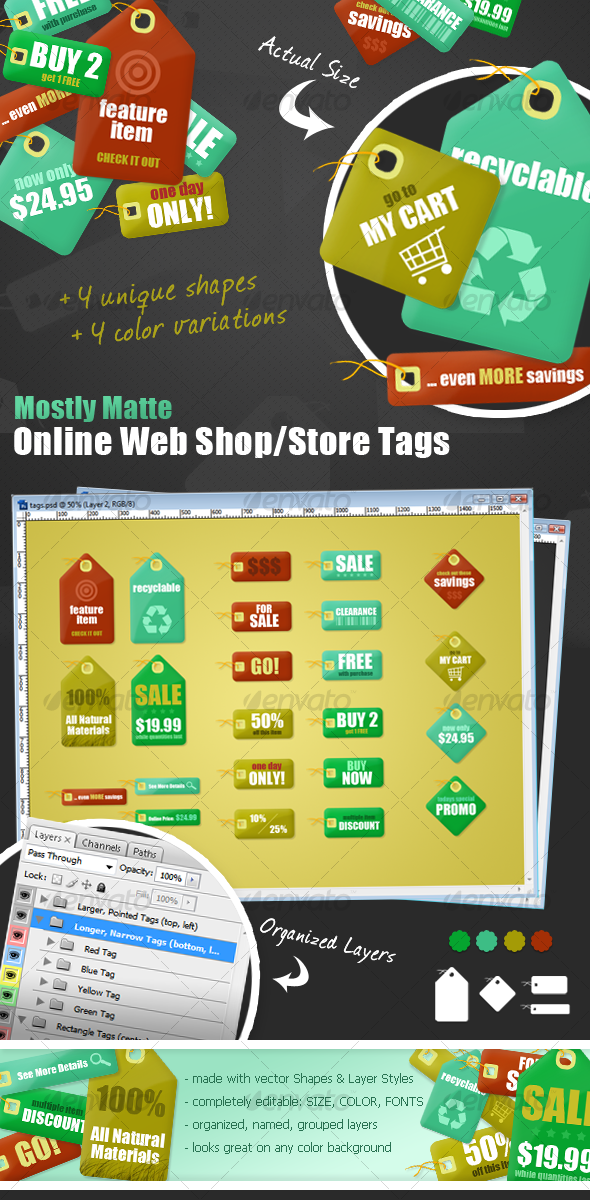Mostly-Matte Web Store Tag Set - 4 Sizes, 4 Colors - Web Elements