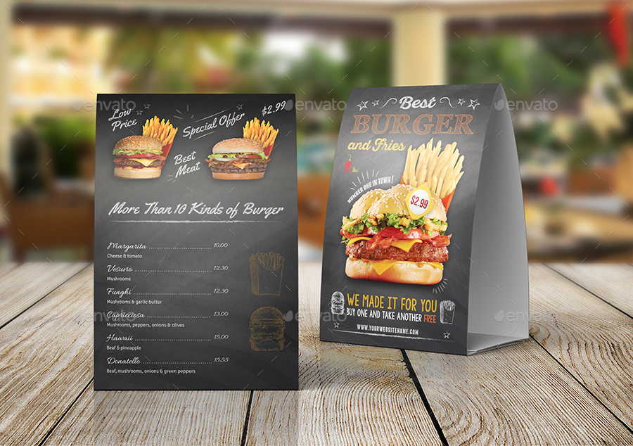 Burger Restaurant Table Tent Template Vol By OWPictures GraphicRiver - Restaurant table tents and menu sign displays