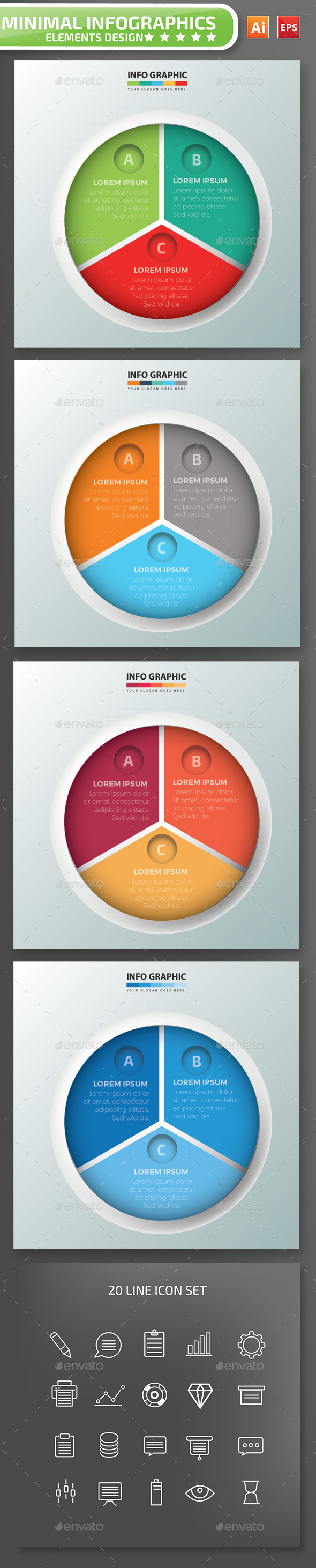 Minimal 3 Circle infographic Design