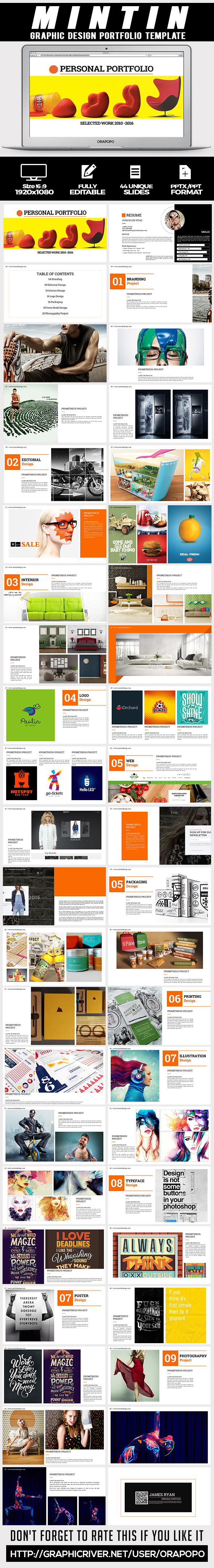 Mintin graphic design portfolio template by orapopo graphicriver mintin graphic design portfolio template creative powerpoint templates pronofoot35fo Image collections