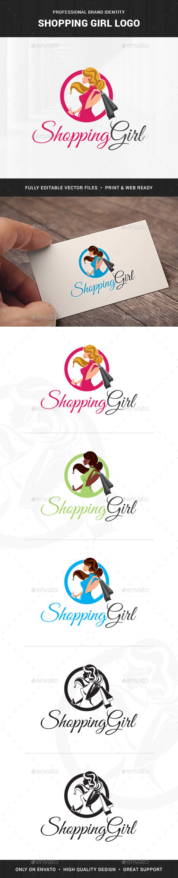 Shopping Girl Logo Template - Humans Logo Templates