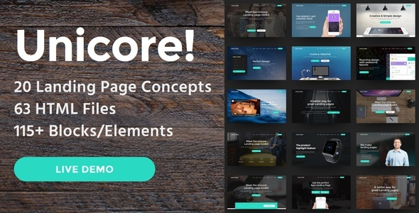 Unicore – 20 HTML Bootstrap Landing Page Templates