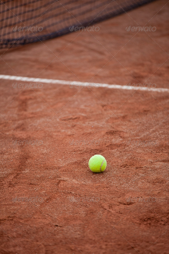 Tennis ball on the court - Stock Photo - Images