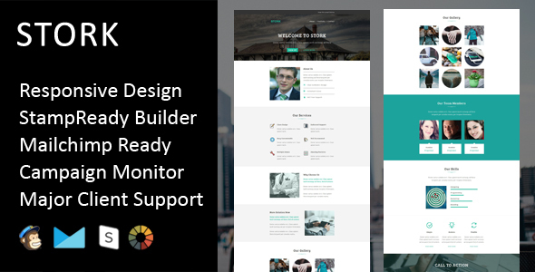 Stork - Multipurpose Responsive Email Template + Stampready Builder - Email Templates Marketing