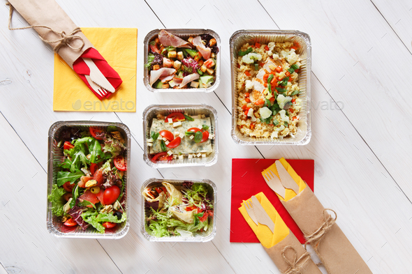 Flat lay, top view of organic food. Diet concept - Stock Photo - Images