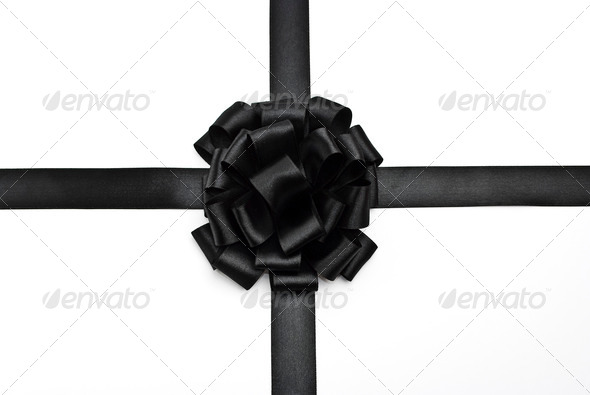 Black ribbon bow - Stock Photo - Images