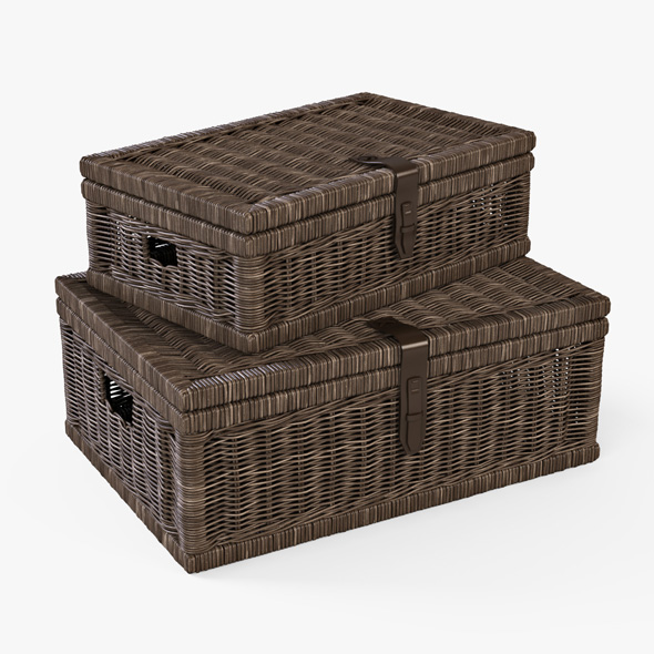 Wicker Basket 06 (Walnut Brown Color) - 3DOcean Item for Sale