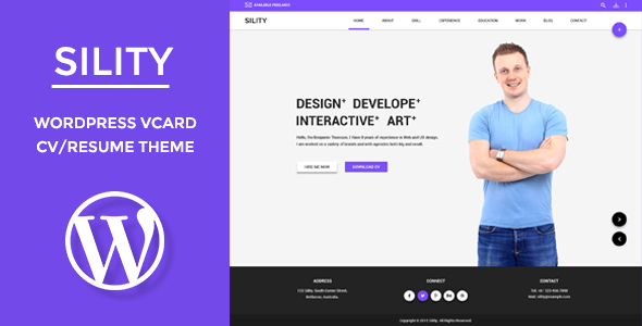 Sility - vCard, CV & Resume WordPress Theme - Portfolio Creative