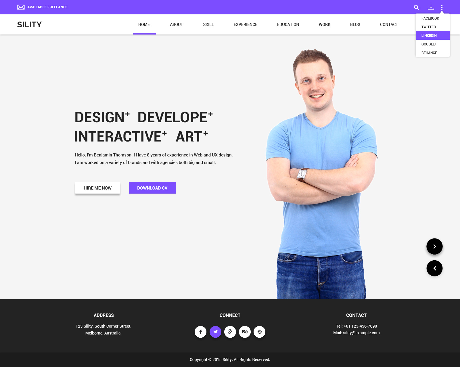 sility vcard cv resume wordpress theme