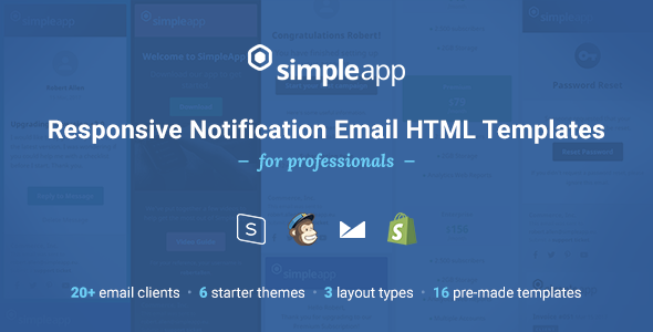 SimpleApp – Responsive Notification Email HTML Templates