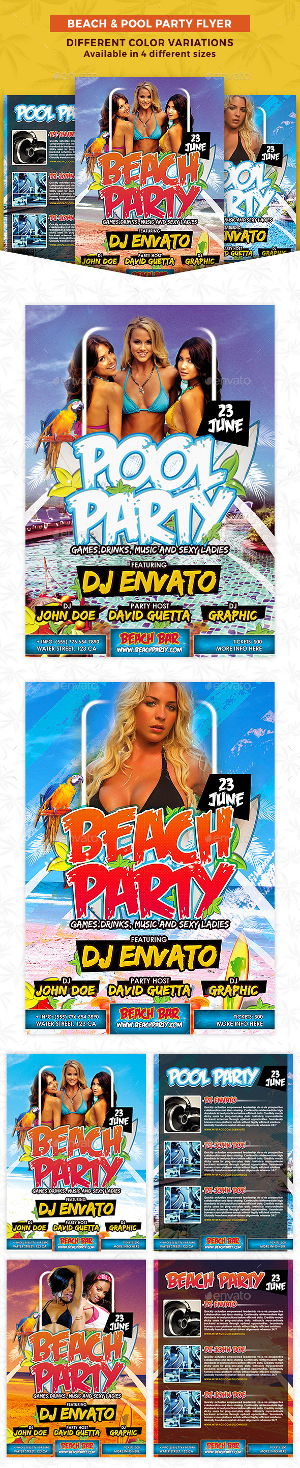 Beach & Pool Party Flyer - Clubs & Parties Events