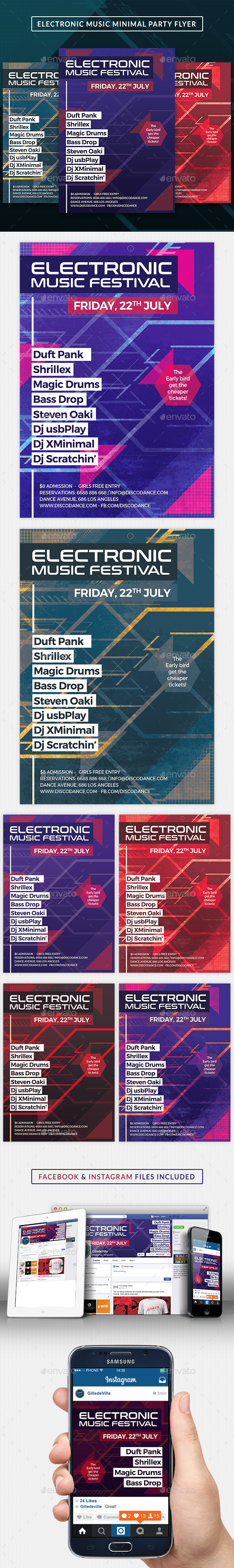 Electro Music DJ Minimal Party Flyer Template - Clubs & Parties Events