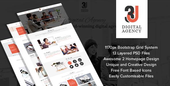 3D Digital Agency - Multi Purpose Creative Template. - Creative PSD Templates