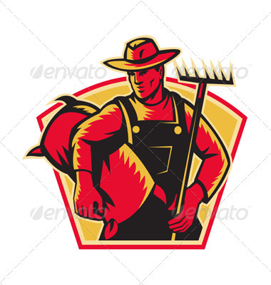 Farmer Agricultural Worker With Rake and Sack  - People Characters