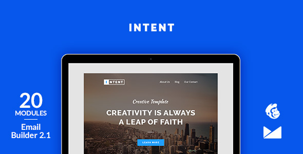 Image of Intent Email Template + Online Emailbuilder 2.1