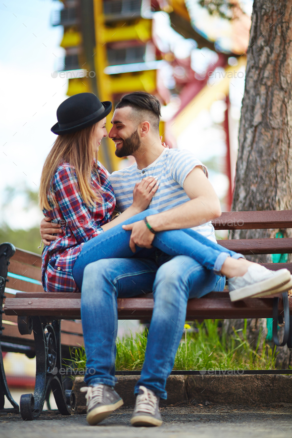 Flirting in park - Stock Photo - Images
