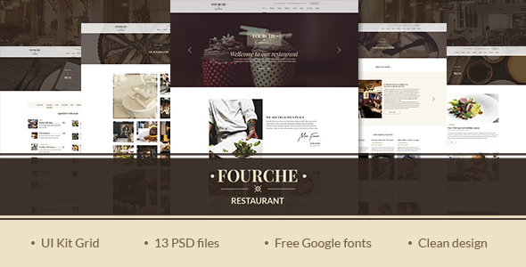Fourcher — Ultramodern Restaurant | Cafe PSD Template