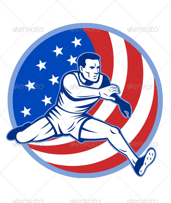 American Athlete Running Hurdle - People Characters