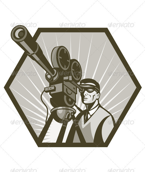 Cameraman Holding Movie Camera Shooting - People Characters