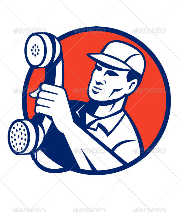 Telephone Repairman Worker Holding Retro Phone - People Characters