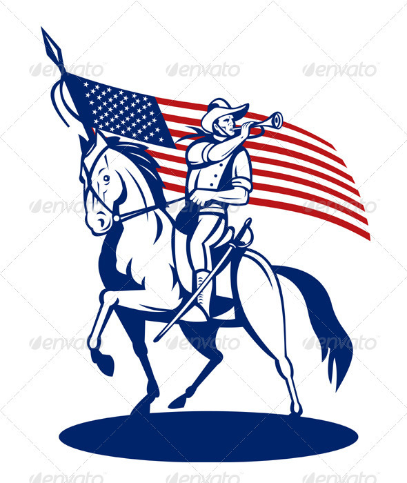 American Patriot Cavalry Rider - People Characters