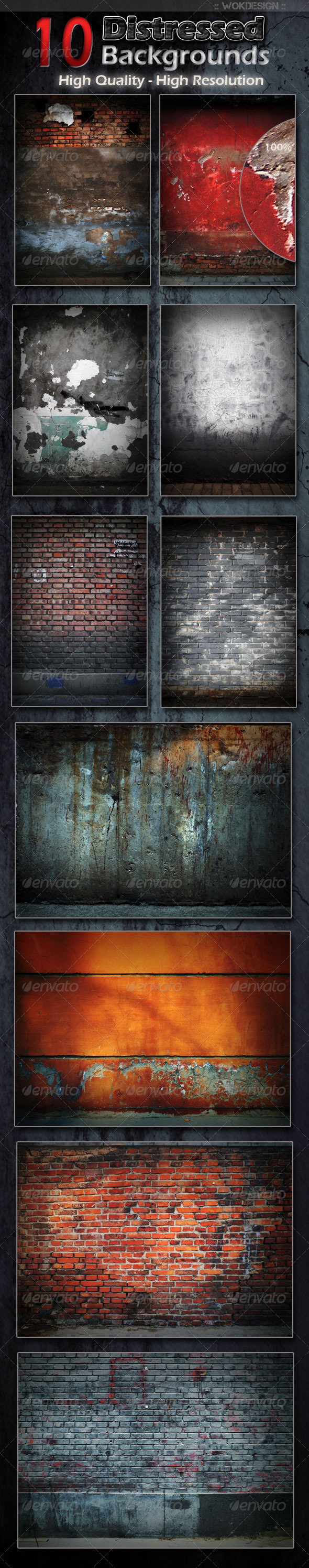 10 Distressed Backgrounds - Backgrounds Graphics