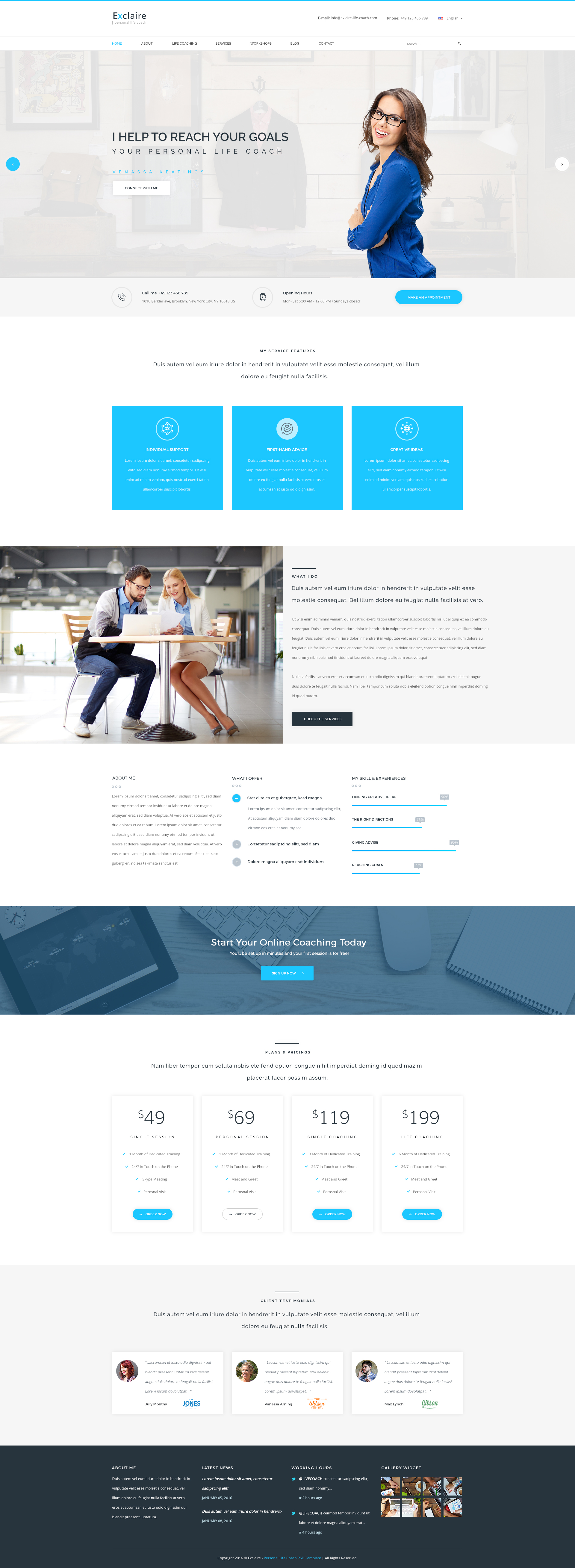 Exclaire Personal Life Coach Psd Template