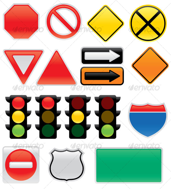 Map And Traffic Signs And Symbols By Fizzgig Graphicriver