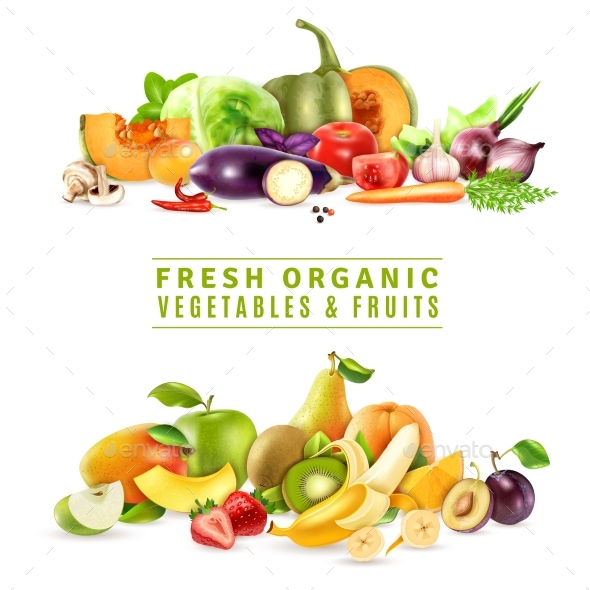 Fresh Vegetables and Fruits Design Concept