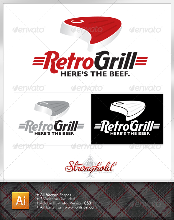 Retro Grill Steakhouse Logo - Food Logo Templates