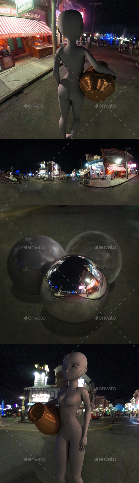 Nighttime Neon Sign Street HDRI - 3DOcean Item for Sale