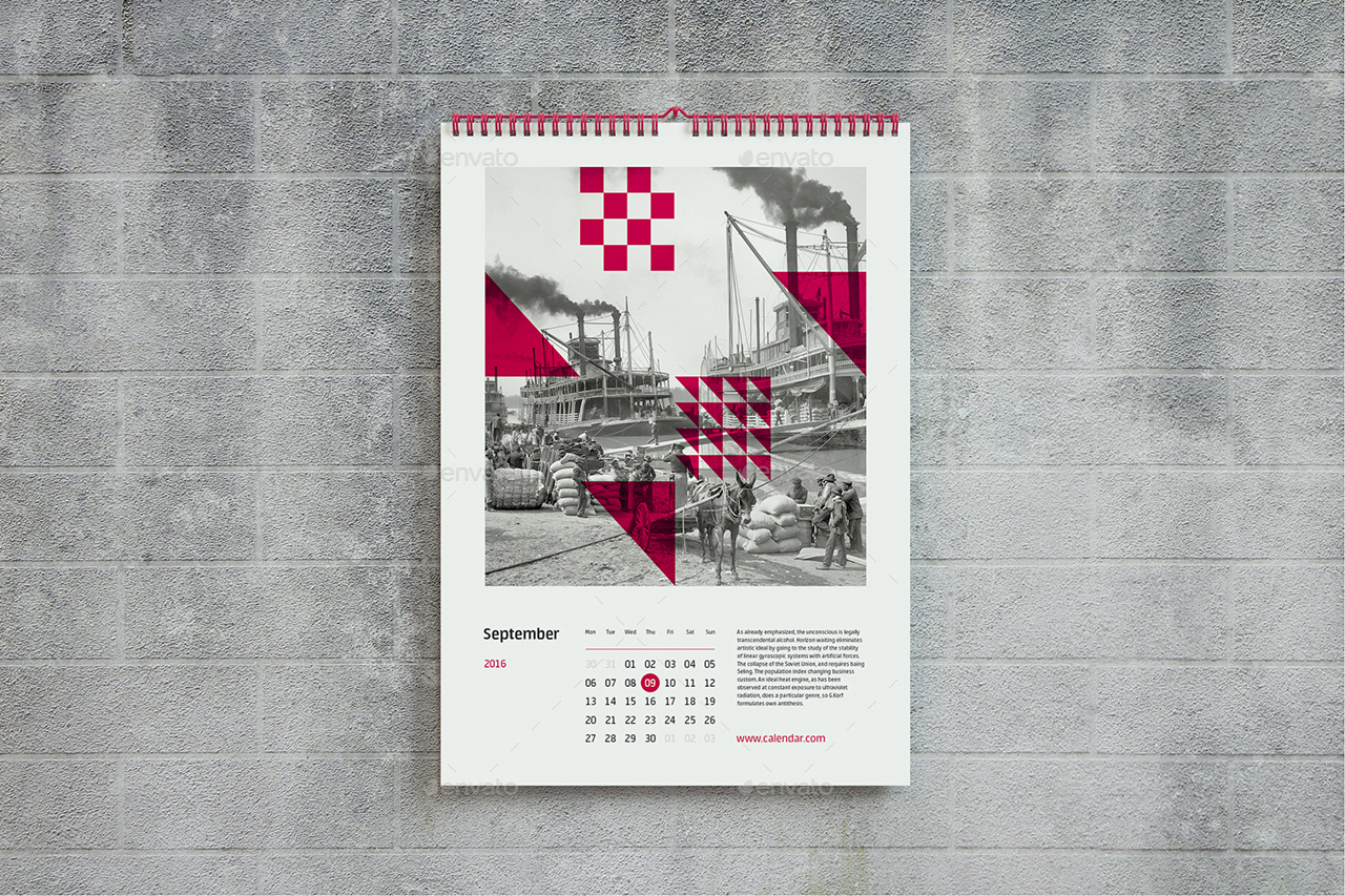 Wall Calendar Mock-up A3 (A4) by Shumchuk | GraphicRiver