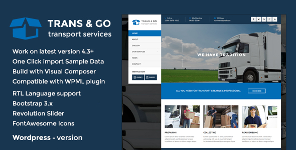 TransGo - Transport & Logistics WordPress Theme - Business Corporate