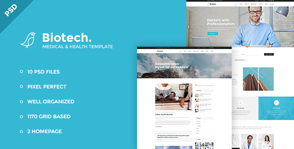 Biotech – Medical and Health PSD Template