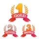 Golden Trophy Set with Laurel and Ribbon - GraphicRiver Item for Sale