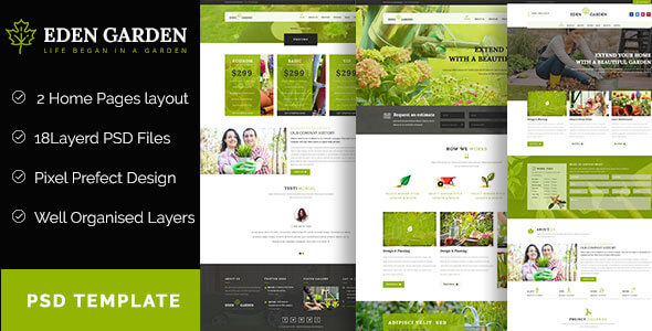 Eden Garden  – Gardening and Landscaping  PSD Template