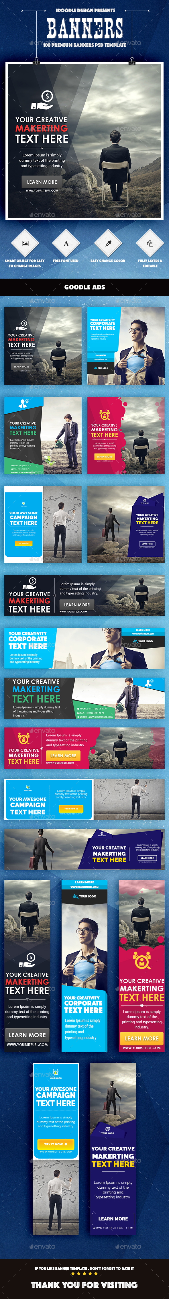 Bundle Multipurpose Banners Ads - 108 PSD [06 Sets] - Banners & Ads Web Elements