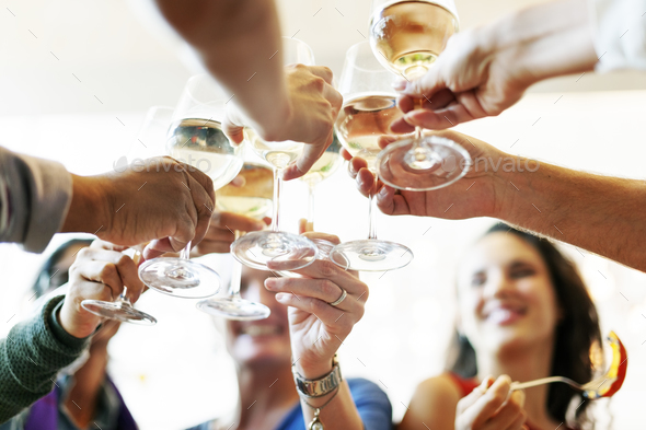 People Cheers Celebration Toast Happiness Togetherness Concept - Stock Photo - Images