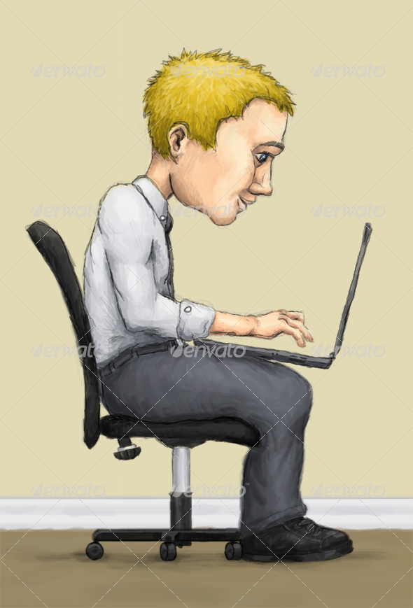 Man on Laptop - Characters Illustrations
