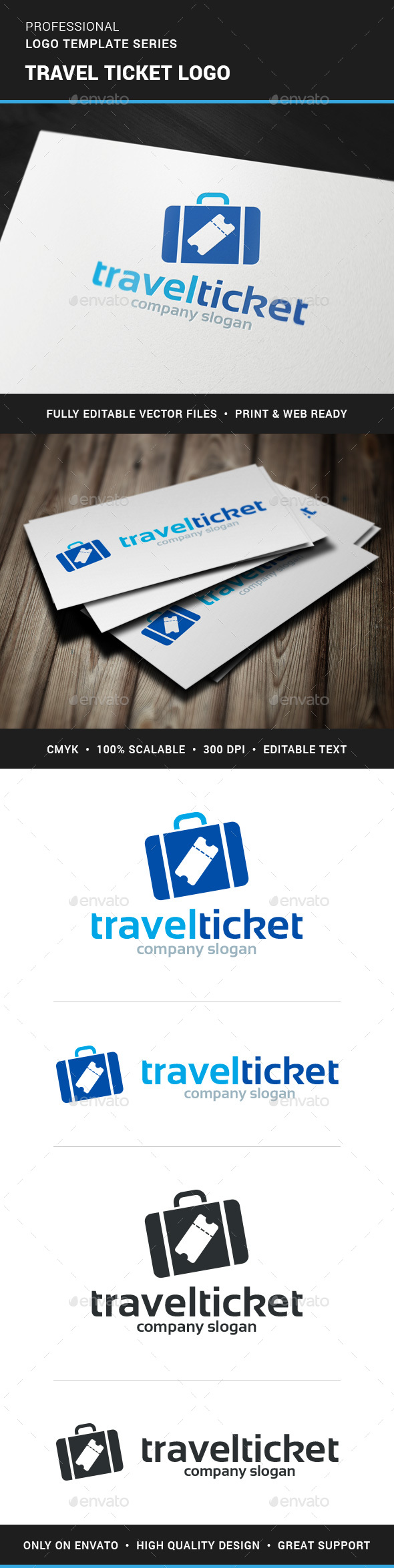 Travel Tickets Logo Template - Objects Logo Templates