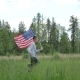 Happy Boy With American Flag Running - VideoHive Item for Sale