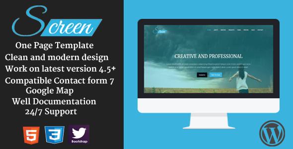 Screen – Responsive Onepage Business WordPress Theme