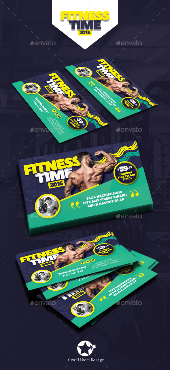 Fitness Time Business Card Templates By Grafilker GraphicRiver - Business card template indd