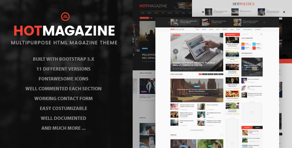 Hotmagazine - News & Magazine HTML Template - Entertainment Site Templates