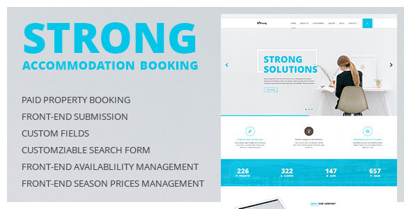 Strong - Accommodation Booking WordPress Theme