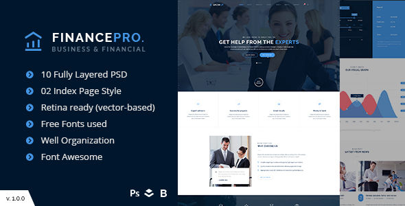 Business & Financial PSD Template – FinancePro